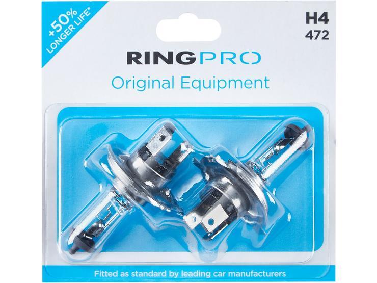 Ring Pro H4 472 Car Headlight Bulb Twin Pack
