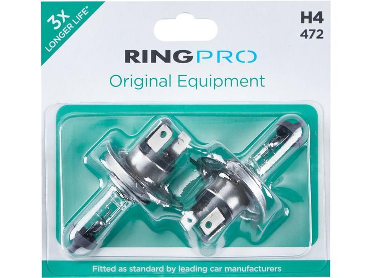 Ring Pro H4 472 Triple Life Car Headlight Bulb Twin Pack