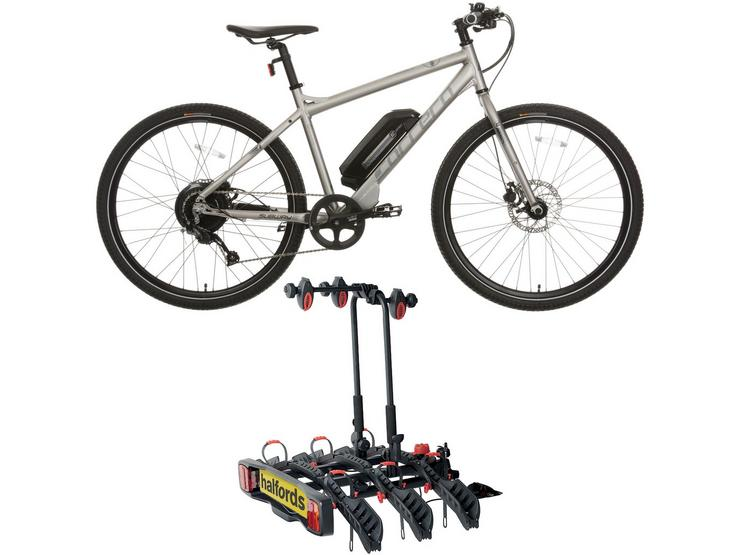 Carrera Subway E Mens Electric Hybrid Bike 2.0 & Halfords 3-Bike Towbar Mounted Bike RackBundle