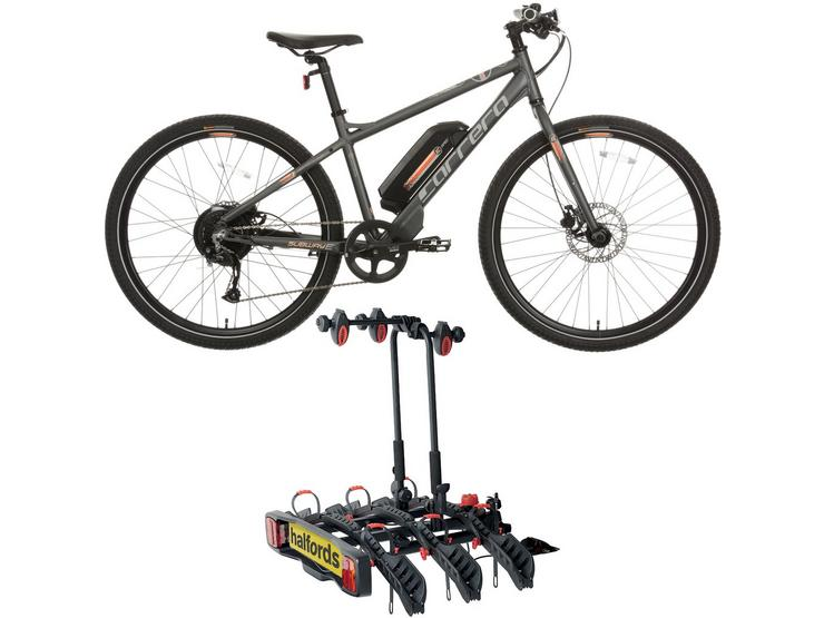 Carrera Subway E Womens Electric Hybrid Bike 2.0 & Halfords 3-Bike Towbar Mounted Bike RackBundle
