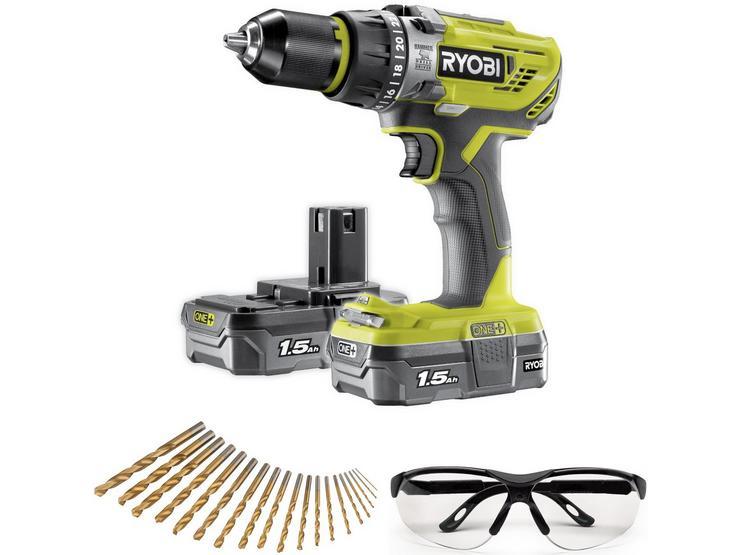 Ryobi Impact Wrench, 5.0Ah Battery & Combi Drill Kit Bundle