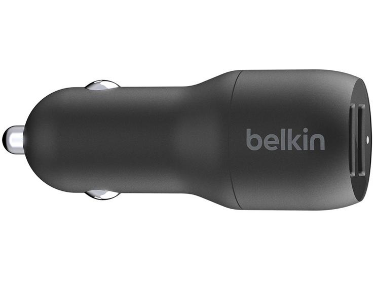 Belkin Dual USB-A Car Charger w/ 1M PVC A-LTG, 24W, BLK