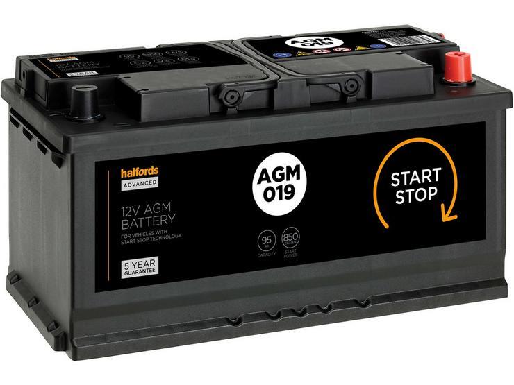 Halfords 019AGM Start/Stop AGM 12V Car Battery  5 Year Guarantee