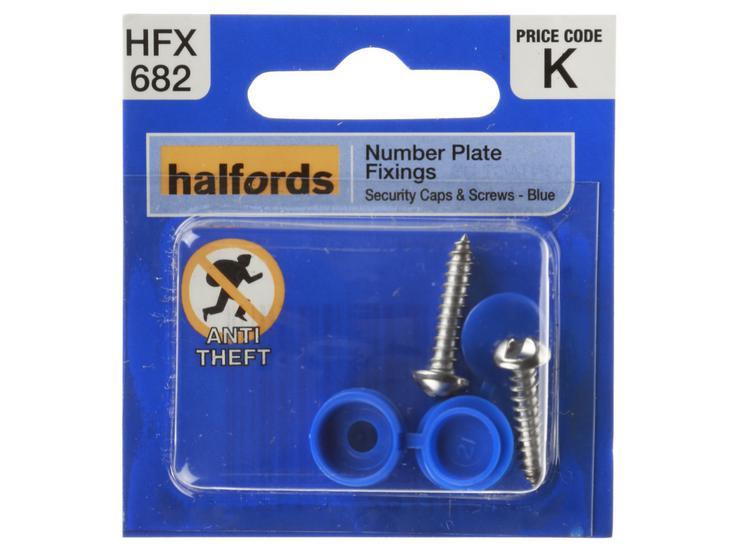Halfords Number Plate Screws & Plastic Caps Blue (HFX682)