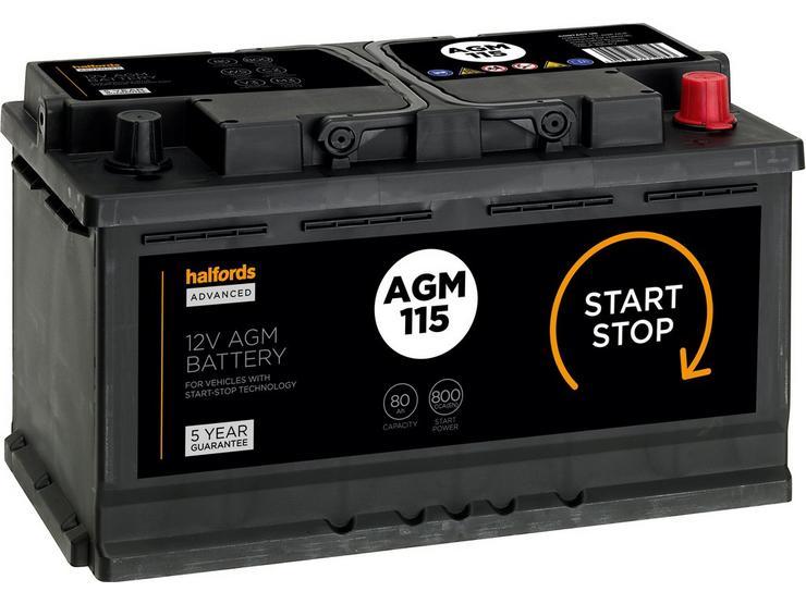 Halfords 115AGM Start/Stop AGM 12V Car Battery 5 Year Guarantee