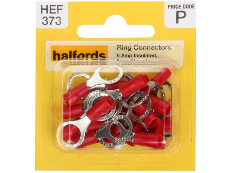 Halfords Ring Connectors 5 Amp Insulated 8mm HEF373