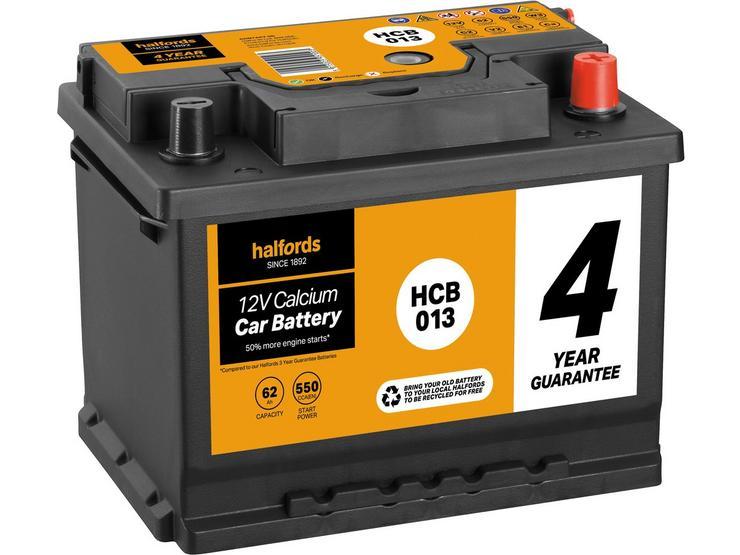 Halfords HCB013 Calcium 12V Car Battery 4 Year Guarantee