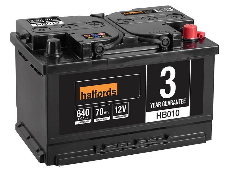 Halfords HB010 Lead Acid 12V Car Battery 3 Year Guarantee